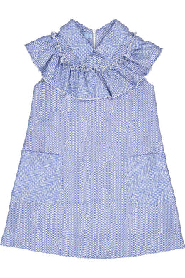 Long Length Blue Herringbone Ruffled Dress with Collar