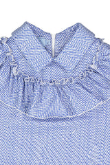 Blue Herringbone Ruffled Dress with Collar
