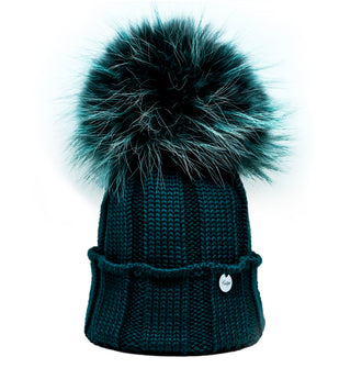 Green Wool Hat with Tint Fur Pom