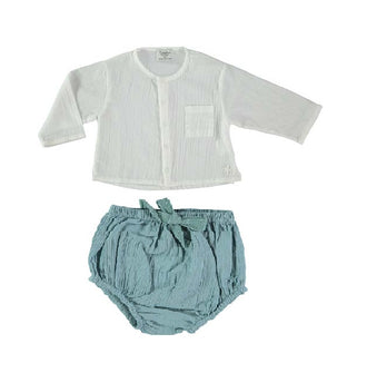 Off White & Green Bloomer Set