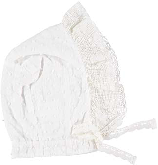 White Lace Trim Bonnet