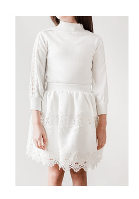 Ivory Lace Trim Neoprene Skirt