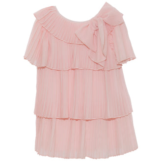 Pink Tiered Pleated Dress