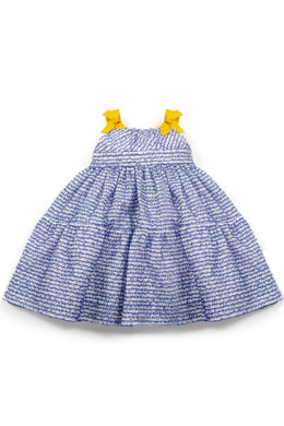 Blue Embellished Poplin Tiered Dress with Grosgrain Straps