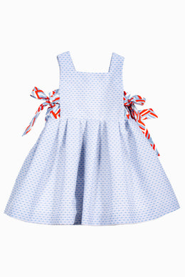 Long Length Light Blue Jacquard Dress with Side Bows