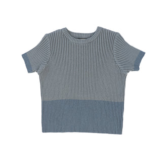Blue Ribbed 2 Tone Sweater