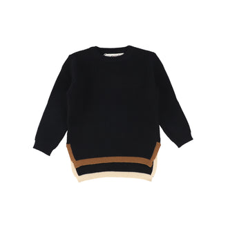 Black Ribbed Colored Edges Sweater
