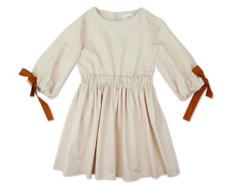 Athena Blush Dress With Contrast Bows on Sleeve