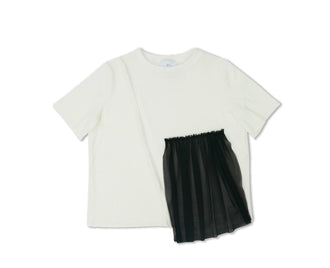 June Off White/Black Tulle Top