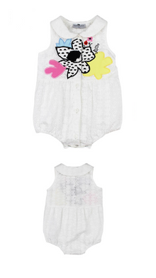 Lulu White Romper With Flowers