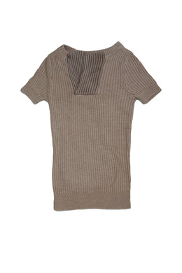 Oatmeal Knit Top with Contrast Panels