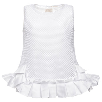 White Mesh Pleated Top