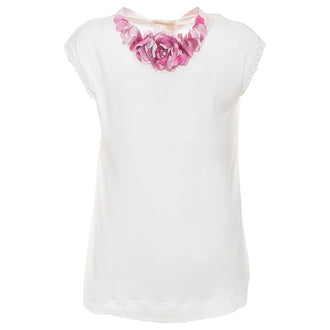 Tee With Flower Neck Trim