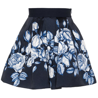 Navy Brocade Taffeta Skirt