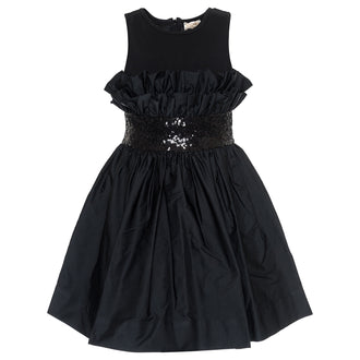 Black Gathered Taffeta Party Dress