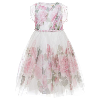 Rose Pearl Tulle Party Dress