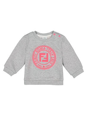 Grey Sweatshirt With Pink Logo