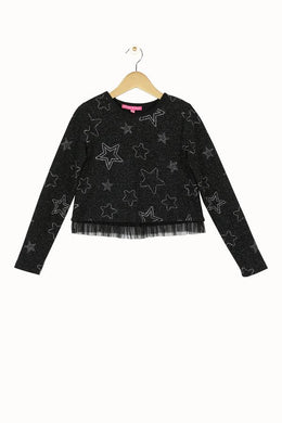 Mae Black Silver Star Top