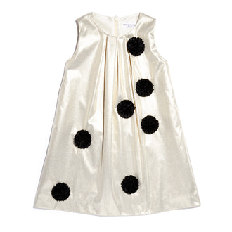 Badia Gold Taffeta Dress W/Pom Poms