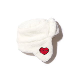 Bega Ivory Faux Fur Hat W/Patches