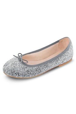 Silver Sparkle Flat Shoes