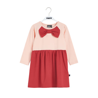 Multicolor Pink & Red Bow Collar Dress