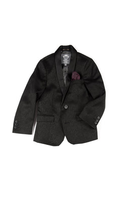 Black Brocade Shawl Collar Blazer