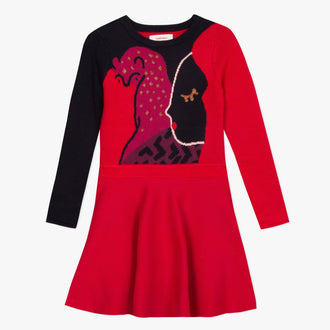 Red Jersey Flair Dress