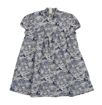 Toile Short Sleeve Blue Print Dress