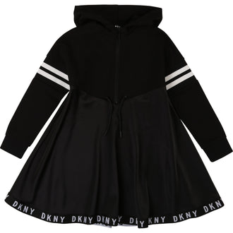 Black Hooded Dress with Logo Trim