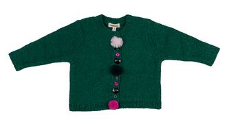 Emerald Green Fur Button Cardigan