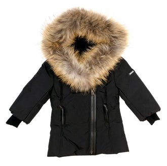 Black Classic Down Jacket With Fur Trim