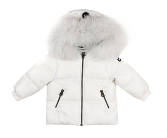 Off-White Lustrious Down Jacket With Fur Trim