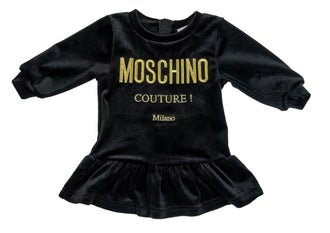 Black Velvet Couture Logo Dress