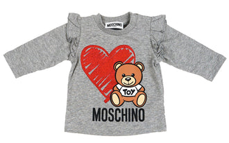 Grey Heart Toy Bear Tee