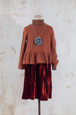 Tosca Rust Crushed Velvet Skirt