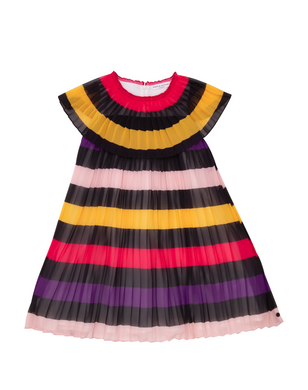 Effy Pleated Striped Dress