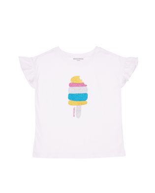Eka White Glitter Popsicle Tee With Ruffle Sleeve