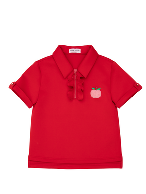 Elegante Red Polo With Apple Patch