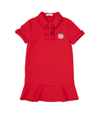 Estrella Red Polo Dress With Apple Patch