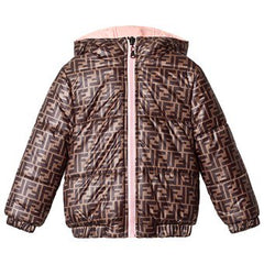 Fendi Baby Logo Puffer Jacket With Tan Trim