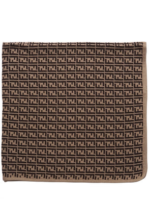 Fendi Brown Baby Logo Print Knit Blanket