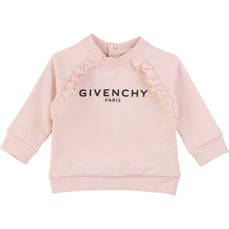 Pink Logo Sweattop With Ruffle Detail