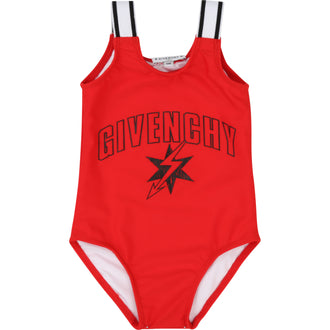 Red Graphic Logo Swimsuit