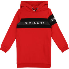 Red Large Logo Hooded Dress