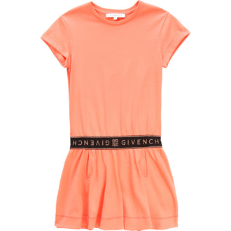 Coral Dress With Logo Detail Waist Band