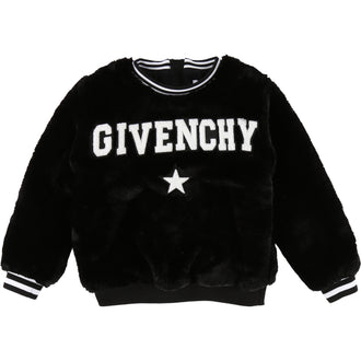 Black Logo Faux Fur Sweatshirt