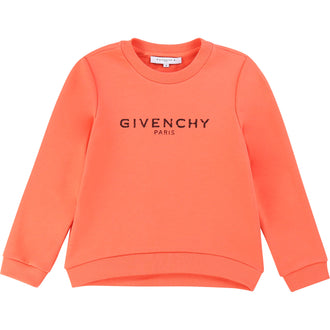 Coral Distressed Logo Sweat Top