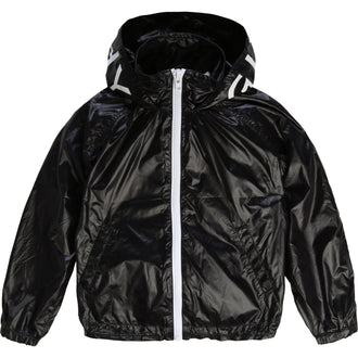 Black Jacket With Logo Hood