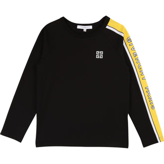 Black Tee With Logo Trim Sleeve